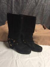 MIU MIU Women's Capra Antic 2 Nero  Leather Ring Moto Boots size 36 Retail $895.