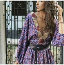 Nuevo Maxi Largo lila bordado zara Imprimir Túnica Maxi vestido largo L