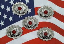 """Southwest Style Oval Conchos Synthetic Red Stone 1 3/8""""x 1 1/8"""" Chrome 5 pcs"""