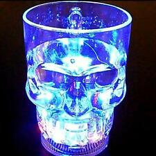 24hr LED  Flash Cups Flashing Luminescent Glass Beer Mug Induction Skull LED Cup