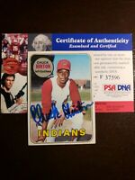 1969 Topps Chuck Hinton Auto Autograph Card Signed #644 Indians Angels PSA DNA