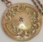 ANTIQUE VICTORIAN EDWARDIAN GOLD FILLED PASTE FLOWER LOCKET NECKLACE