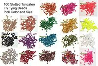 100 Slotted Tungsten Fly Tying Beads - Pick Size & Color