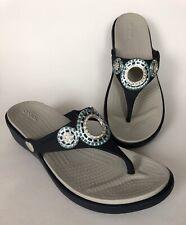 Crocs Women's 7W Thong Sandal Embellished Navy Blue Wedge Dual Comfort Flip Flop