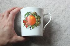 Queens Rosina Fine Bone China Coffee Tea Cup Mug White Gold Fruit Orange Nuts