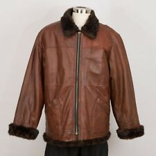 Mens Winter Leather Jacket Size L Large Brown Faux Fur Lined