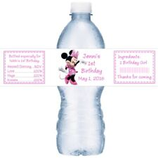 21 Minnie Mouse Birthday Party Water Bottle Labels Pink