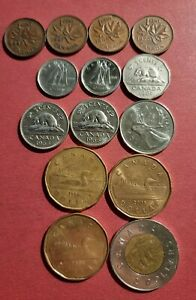 Canada Coin Collection (14 different coins) $5.64 In Face Value