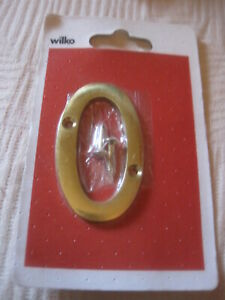 BRASS  NUMBER ZERO  WILKO NEW LENGTH 3 INCHES WIDTH 1.75 INCHES WITH 2 SCREWS