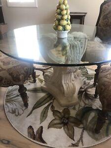 "Ballard Designs Acanthus Base Glass Top 52"" Dining Table"