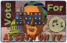 Vote For Evil ATC mixed media collage card outsider artist