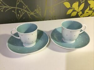 Susie Cooper Turquoise And White Raised Spot Coffee Cups And Saucers