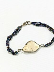 Artisan Silver Tone Black Glass Bead Shell Bracelet 7 Inches