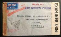1941 Hyderabad India Airmail Dual Censored Cover To Geneva Switzerland