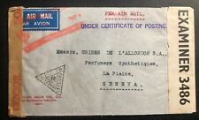 1941 Hyderabad India Airmail Dual Censored Cover To Geneva Switzerland