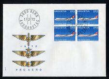SCHWEIZ Nr.968 VIERERBLOCK SCHMUCK-FDC 2Fr. PRO AERO !!! (127218)