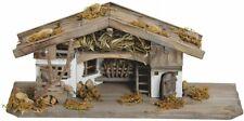 Krippe Holz Weihnachtskrippe Stall alpenländisch braun / weiß 33x13x12 cm
