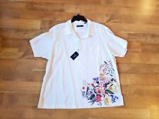 CREMIEUX men's white short sleeve floral print spring summer shirt $85