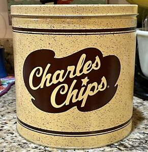 "Very Collectible CHARLES CHIPS 1 Lb Tin 8.25"" x 8"" Can Excellent Condition EUC"