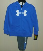 Under Armour Boys 24 Months 2 Piece Outfit Grey Blue Full Zip Hoodie Pants New