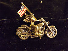 harley davidson pendent , girl with wings on bike with flag,