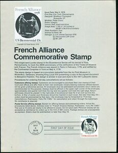 USPS 1978 First Day Issue Souvenir Page, French Alliance Commemorative