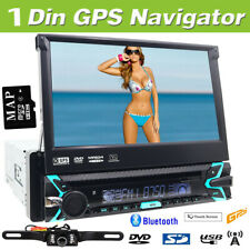 "Single 1DIN Flip-Out 7"" Car Stereo DVD CD Player GPS/USB/Bluetooth Radio Camera"