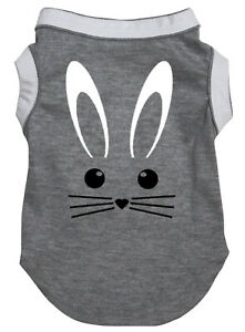 Easter Grey Top T-Shirt Easter Bunny Face Pet Cat Dog Puppy One Piece Clothes