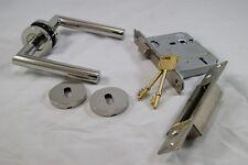 Mitred Door Handle Pack (External Timber Door Set), Polished Stainless Steel