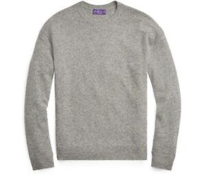 $1,495 Ralph Lauren Purple Label Grey Diamond Knit Cashmere Crew Neck Sweater
