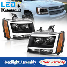 For 2007-2014 Chevy Avalanche/Suburban/Tahoe Black LED DRL Projector Headlights