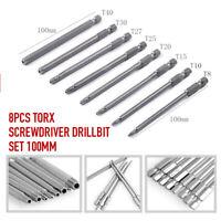 8PCS 100MM Torx Screwdriver Drill Bit Set Extra Long Hex Security Magnetic Head