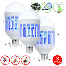 US 3Pack Mosquitoes killer Fly Bug Zapper Outdoor Indoor 15W LED Light Bulb Lamp