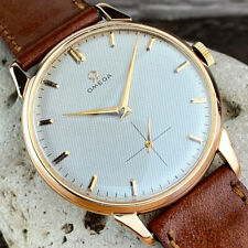 OMEGA 18k SOLID GOLD JUMBO MEN'S WATCH HONEYCOMB DIAL FROM 40's