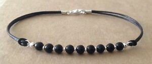 Black Onyx 4mm Beads, Black Leather Cord, Silver Plated Friendship Bracelet