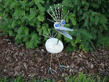 Garten Deko Figur Vogel Punker Naturstein Edelstahl Gartenfigur Steinfigur