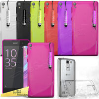 For Sony Xperia Mobile Phones -S-Line Clear Gel Case Grip Cover+Screen Protector