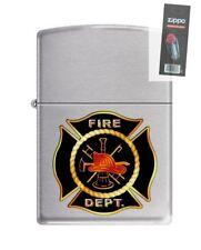 Zippo 9712 Fire Department Brushed Chrome Finish Full Size Lighter + FLINT PACK