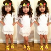 Toddler Kids Baby Girl Lace Floral Formal Party Princess Dress Sundress 2-11Y UK