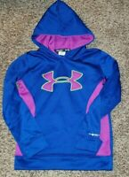 Under Armour Girls ColdGear Loose Fit Hoodie Youth Small Blue Purple