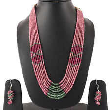 7 Strands Natural Emerald Ruby Necklace Top Quality Beads - Free Earrings