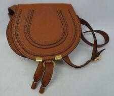 Chloe Saddle Brown Tan Mini Marcie Leather Crossbody Bag w/ Adjustable Strap