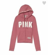 VICTORIAS SECRET PINK PERFECT FULL ZIP HOODIE SOFT BEGONIA SIZE L NIP
