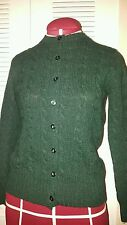 VTG BROOKS BROTHERS FISHERMANS CABLE KNIT SHETLAND WOOL CARDIGAN SZ 36
