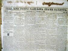Rare orig 1829 Raleigh NC newspaper with 3 illustrated RUNAWAY SLAVE REWARD ADS