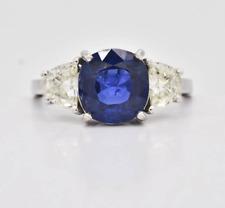 $23,000 Platinum 4.26ctw No Heat GIA Burma Sapphire & Diamonds Ring 5.9g Sz 7.75