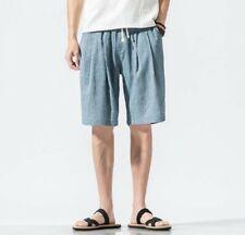 Men's Beach Leisure Linen Pants Trousers Shorts Loose Fit Elastic Waist Fashion