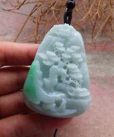 Certified Green Natural A Jade jadeite Pendant Landscape painting 山水画 518929