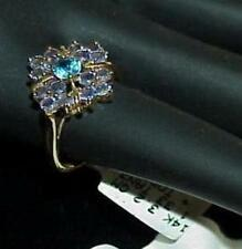 14K 1.33Ct Tanzanite & Blue Topaz Cluster Ring Yellow Gold Size 7 New Tag