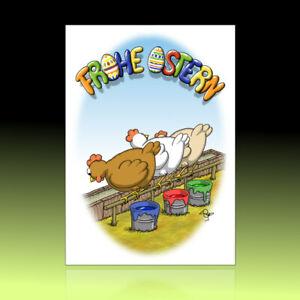 10 witzige Osterkarten, Postkarten, lustiger Cartoon, Osterpostkarten Farbeimer